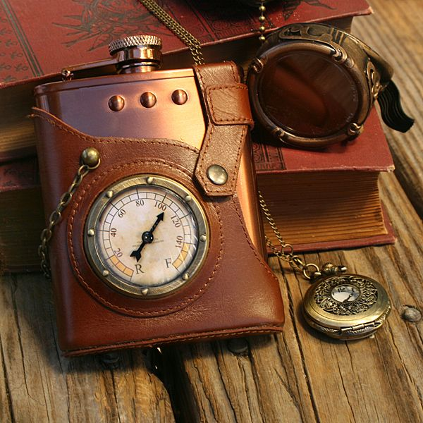 """Want To Keep A Bit Of Your """"Health Tonic"""" In A Steampunk Flask?  ... see more at InventorSpot.com"""