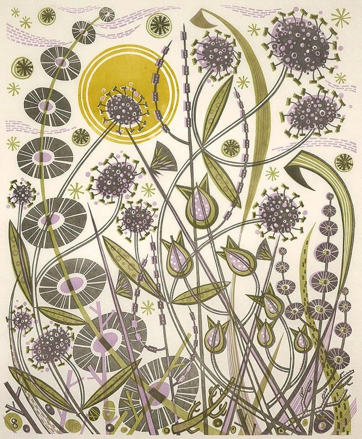 """Skye Sun"" linocut by Angie Lewin. http://www.angielewin.co.uk/ Tags: Linocut, Cut, Print, Linoleum, Lino, Carving, Block, Woodcut, Helen Elstone, Lucienne Day, Flowers, Seeds, Pattern, Leaves."
