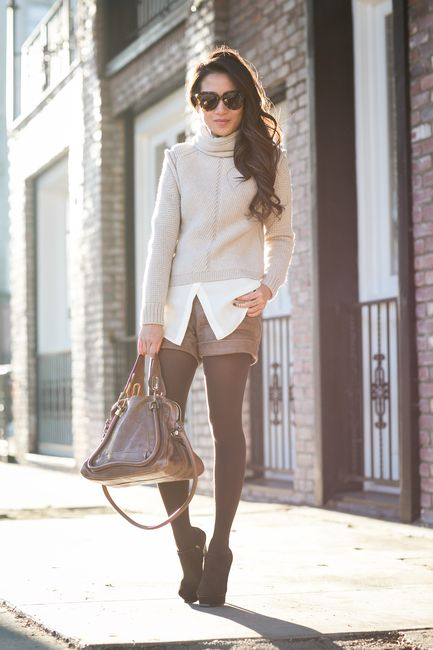 Earth Tones :: Chunky sweater & Brown booties I like the blouse under the turtleneck sweater