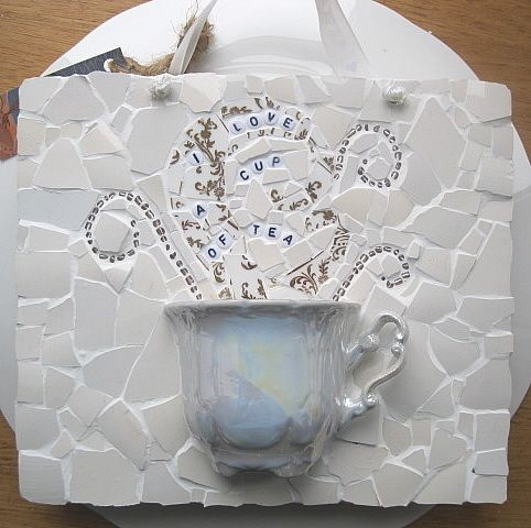 1000 images about mosaic teacup on pinterest mosaic for Shabby chic wall tiles