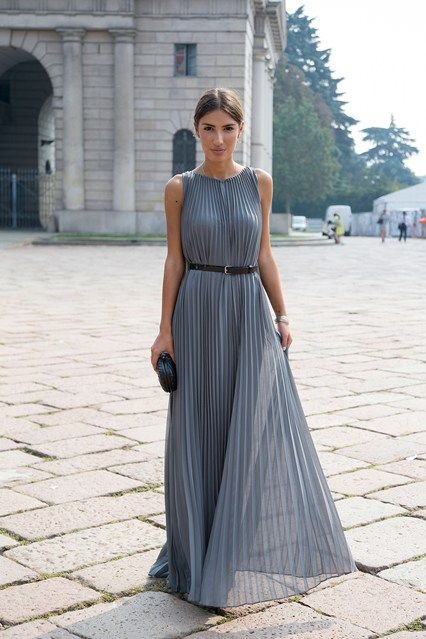 Patricia Manfeld (blogger) Her dress is by Halston. Milan Fashion Week, Spring 2014.