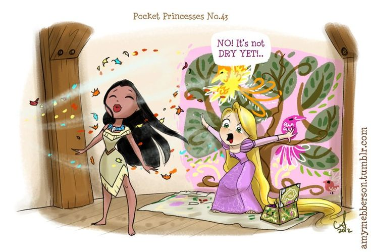 Pocket Princesses by Amy Mebberson  # 43- If Disney princesses lived together: Pocahontas and Rapunzel
