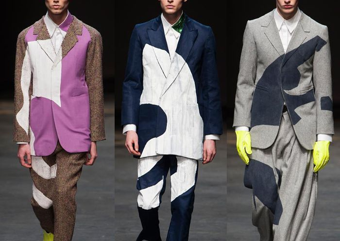 London Menswear Autumn/Winter 2014   Print Highlights Part 1 catwalks  On the basic pastel color scheme, the graphic statement is created by the bright color blocking. Instead of those very detailed and tiny patterns, designer cut the patterns into large and simple geometric blocks.
