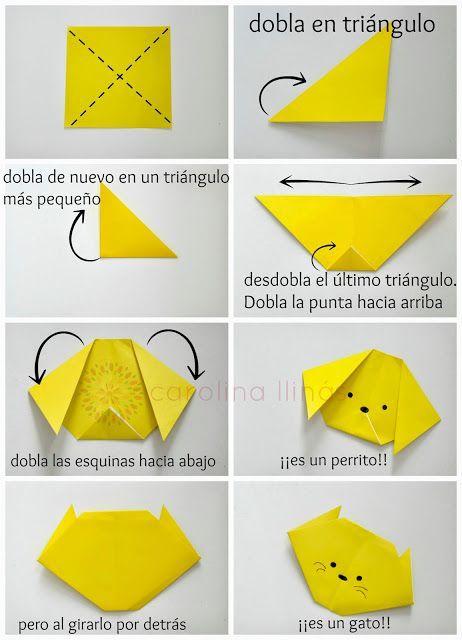 instrucciones para hacer perro en origami