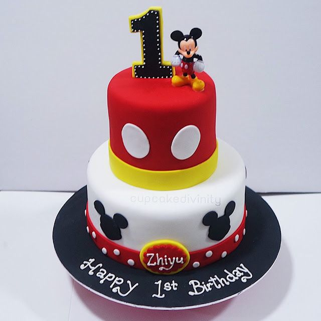 Awe Inspiring Cupcake Divinity 2 Tier Mickey Mouse Cake With Images Mickey Funny Birthday Cards Online Hendilapandamsfinfo
