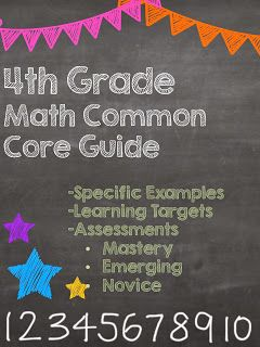 FOURTH GRADE!!!!! Check out this FREE Common Core Math Guide that has specific examples for each standard, the learning objective (I Can Statement), and examples of assessment for mastery, emerging, and novice!