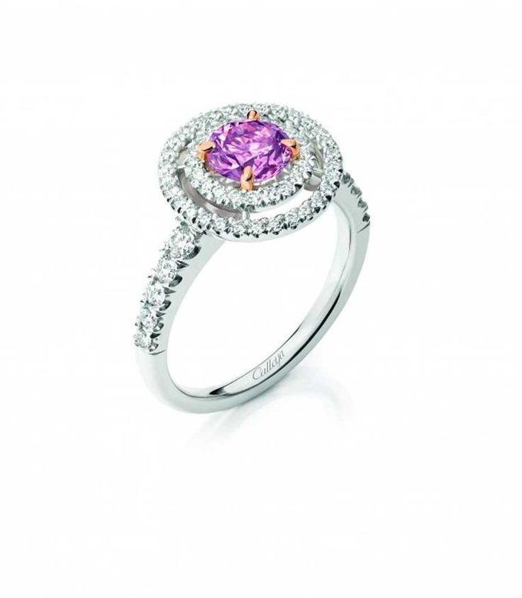 Calleija Aurora pink diamond engagement ring, set with a 0.86ct Fancy Intense Purplish Pink Argyle diamond.