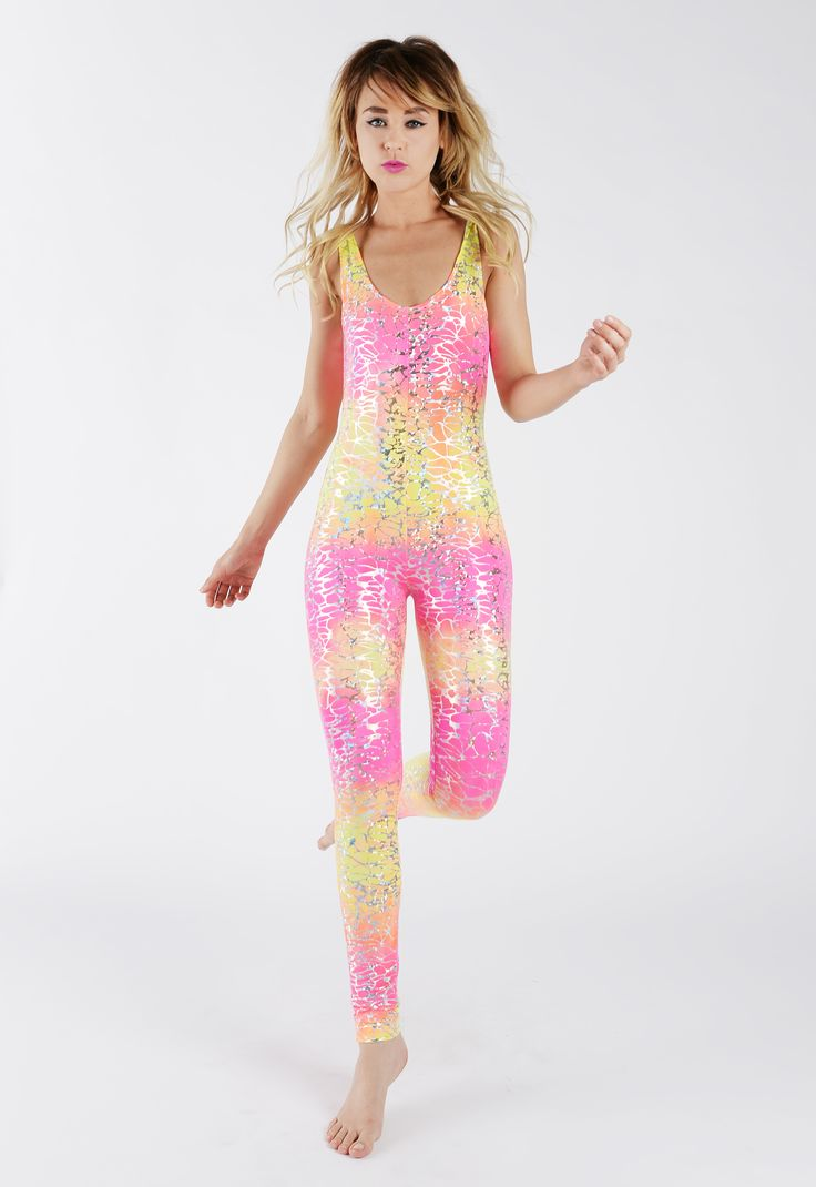 Pink & Yellow Silver Crackle Catsuit. Catsuit. Pink. Yellow. Sparkle. Silver. Orange. Girly-Girl. Fairy-like. Handmade. By Tirade 13