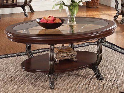 BAVOL CHERRY FINISH WOOD OVAL SHAPED COFFEE TABLE WITH GLASS INSERT AND  LOWER SHELF   Click
