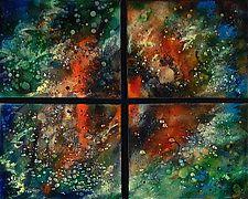 """Orion Quartet by Cynthia Miller (Art Glass Wall Sculpture) (21"""" x 25"""")"""