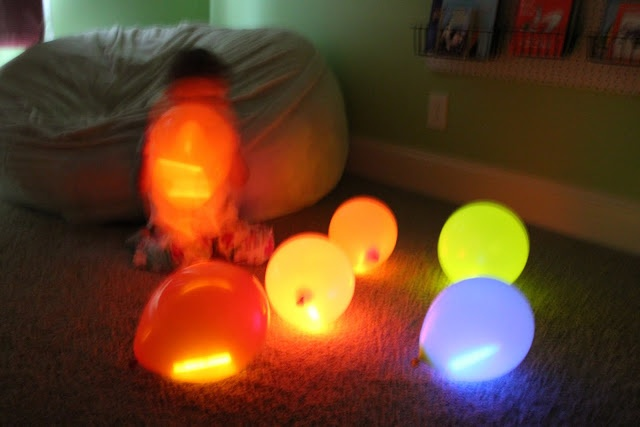 glow stick ballons, And you can freeze ballons and make winter lights out of them. Line your walk way so when company comes they know just where to go