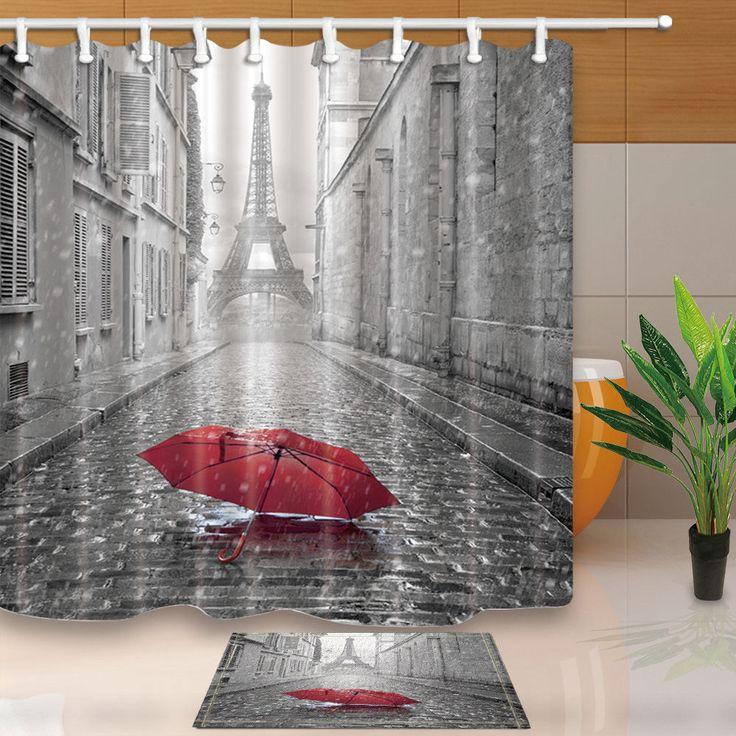 "Paris Red Umbrella In Rain Eiffel Tower Bathroom Fabric Shower Curtain Set 71"""