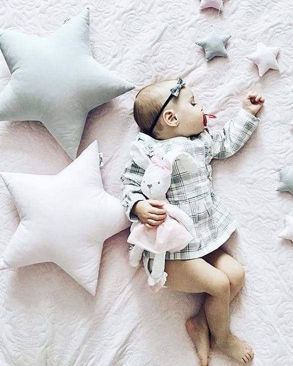 Star pillow to buy on Etsy - HappySpacesWorkshop - scandinavian kids room decor, pastel girls room ideas, pink and grey girls room