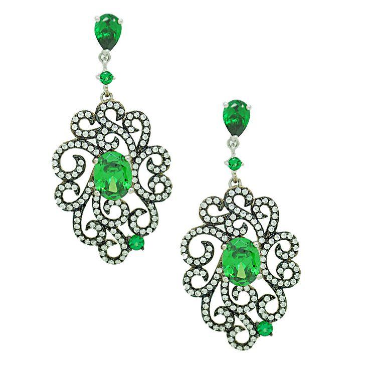 Brinco Joia de Prata 925 Pedra Verde Esmeralda | Bijouterias Finas | Comprar Bijouterias Finas Online