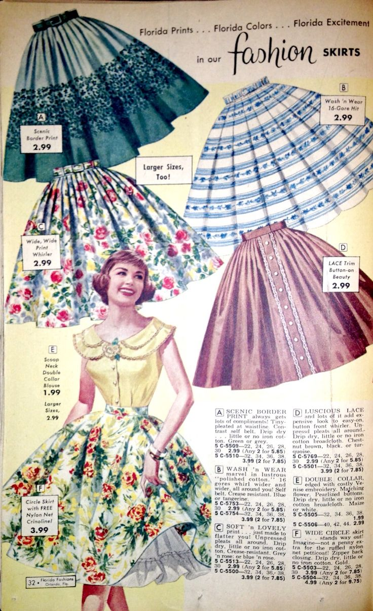 Wonderfully pretty 1950s Florida Fashions circle skirts. b I love making and wearing them today floral stripes print ad blue black red pink yellow white full .