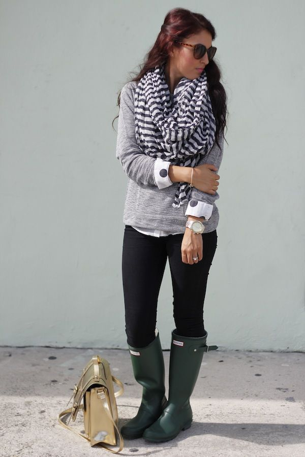 Grey and white on top, black on bottom, boots and striped scarf. Love