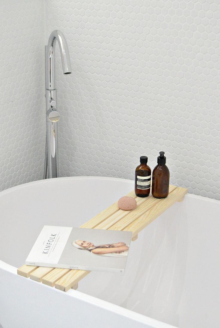 In the bathroom while taking a shower or a well deserved bubble bath - Diy Wood Bathtub Tray