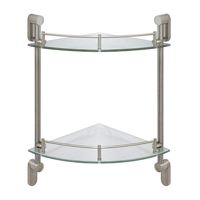 MODONA Double Corner Glass Shelf with Pre-installed Rail - SATIN