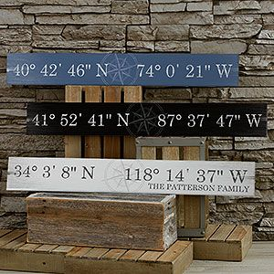 I love this Latitude and Longitude wood sign! You can personalize it with the coordinates to your house or where you met or where you were married (the site tells you how to look them up) - it's such a cute idea! It comes in 5 colors - barnwood red, black, ivory, grey and blue and has a beautiful vintage feel. LOVE THIS - totally fits with the popular farmhouse style too!