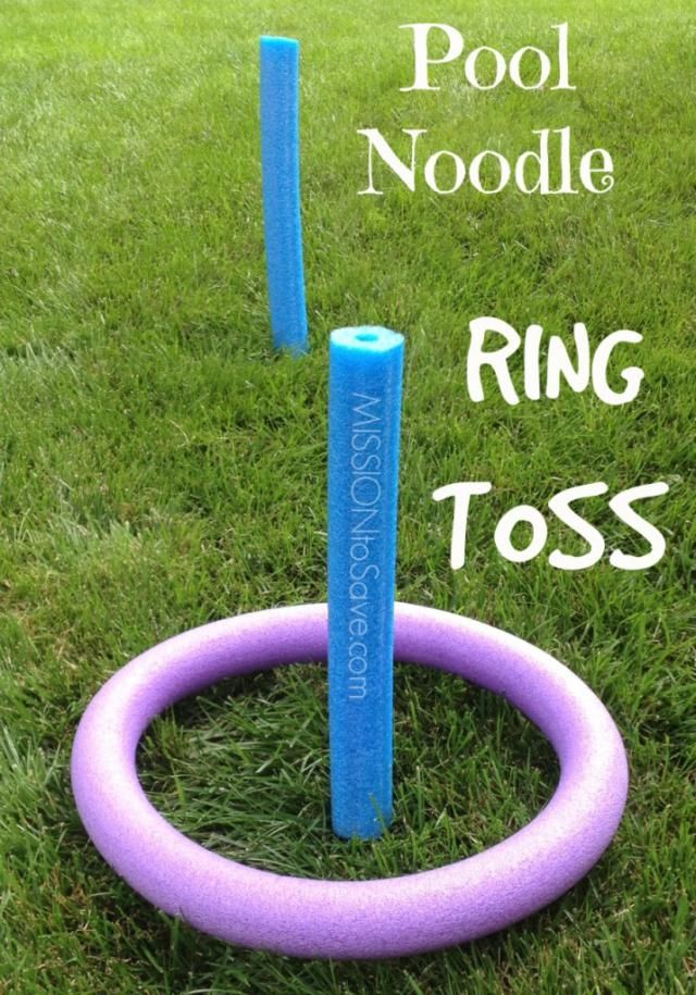 7 Pool Noodle DIYs: Pool Noodle Ring Toss -- 2 noodles (1 cut in 1/2, 1 taped in a circle) & 2 pencils