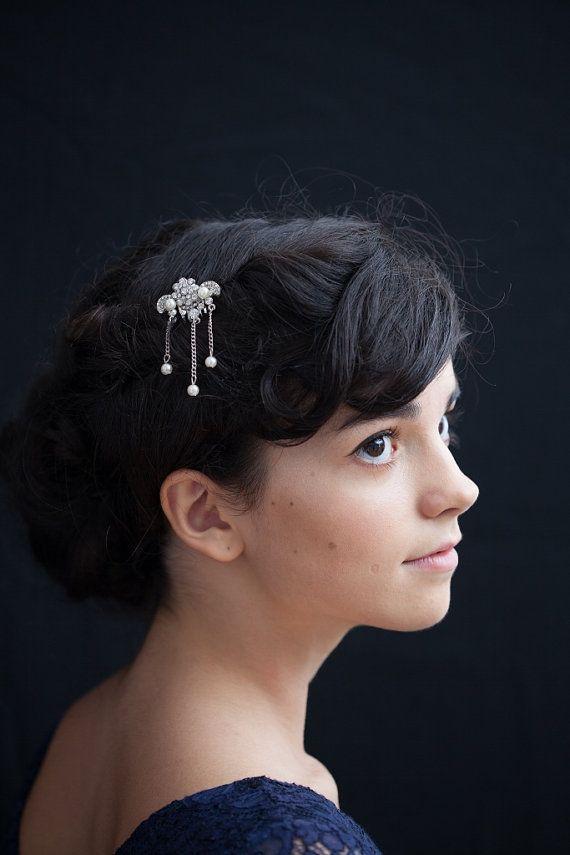 Pearl Hair comb Bridesmaids Accessory - Art deco comb 1930s style wedding headpiece