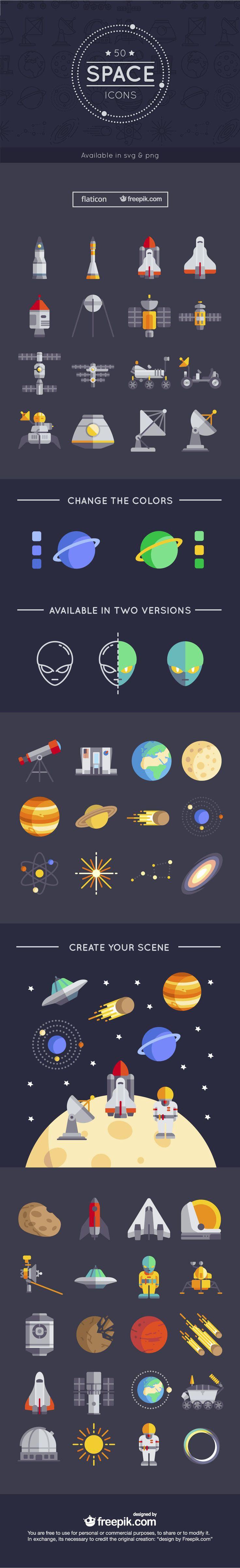 Free pack of 50 stunning space icons | Freepik Blog