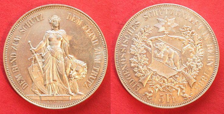 1885 Schweiz - Schützentaler BERN 5 Franken 1885 SCHÜTZENTALER Silber ERHALTUNG!!! # 95426 unz-stgl