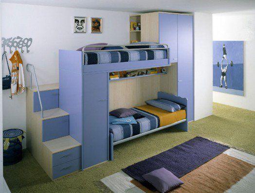 blaue  kinderzimmer designs modern hochbett kühle farben treppe