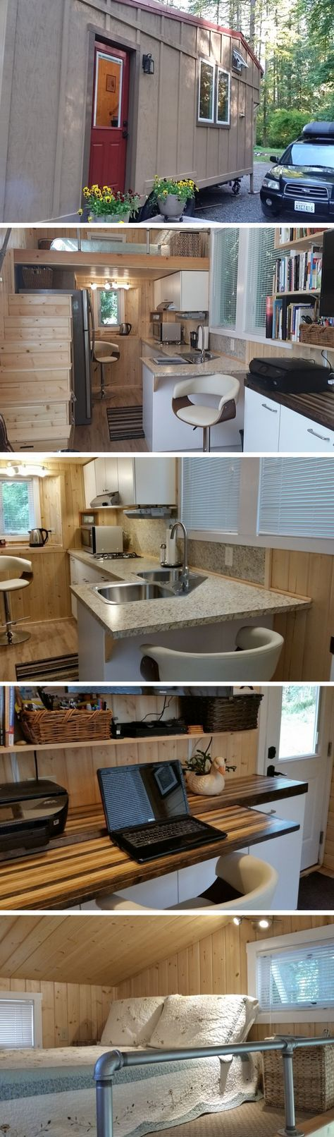 A 243 sq ft tiny house with a full kitchen, bathroom, loft bedroom, and a work/entertainment room with a desk and bookshelves
