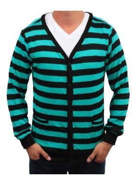 Something Strong Something Loud Black/Green Cardigan. Buy @ http://thehubmarketplace.com/Something-Intelligent-Midnight-Royal #stripe #cardigan
