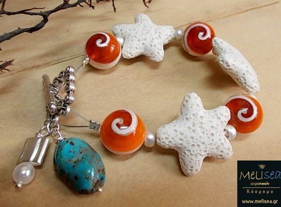 Summet bracelet with lava starfish, nautilus beads, turkuaz & metal elements....<3