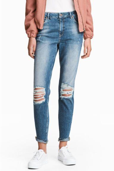 Boyfriend Slim Low Jeans - Niebieski denim trashed - ONA | H&M PL 1