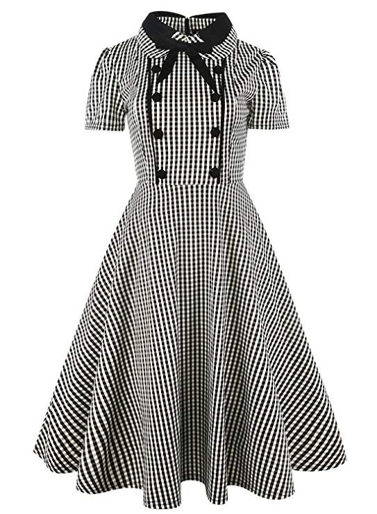 Women Vintage Rockabilly Swing Dress Bow Evening Retro Party Plaid Cotton  Dresses with Short Sleeves . partydresses  partywear  party  partyideas    ... 686fdb461b83