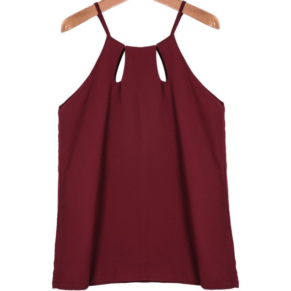 Red Spaghetti Strap Hollow Chiffon Cami Top (188.405 IDR) ❤ liked on Polyvore featuring tops, red singlet, chiffon tank top, cami tank, camisole tops and red tank