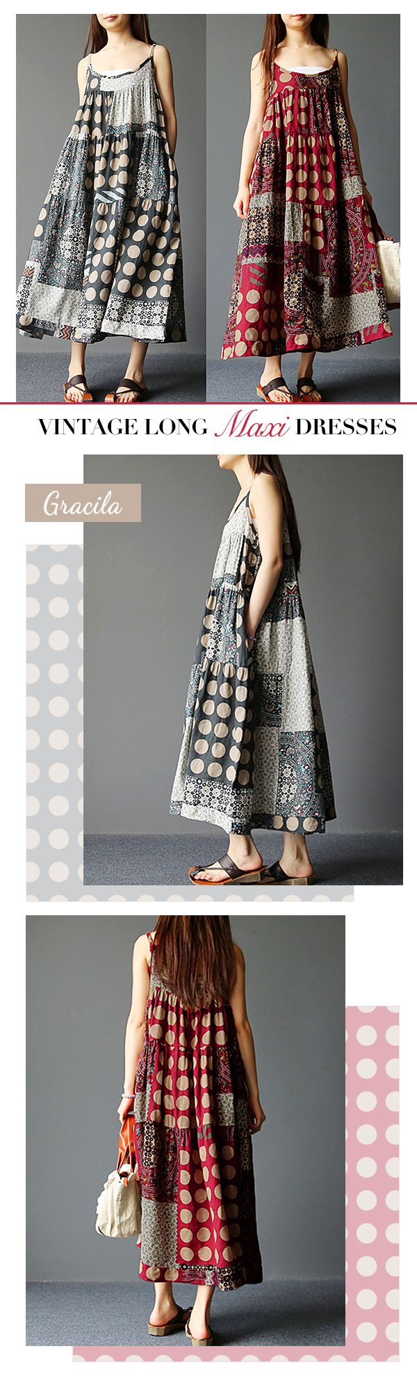 US$ 20.85 Gracila Spaghetti Strap Ethnic Printed Women Vintage Long Maxi Dresses