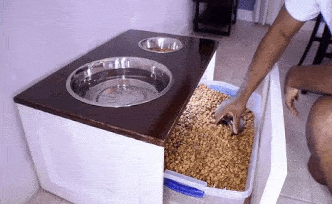 diy dog feeding station pattern | Genius! The DIY Dog Feeder that Doubles as Storage
