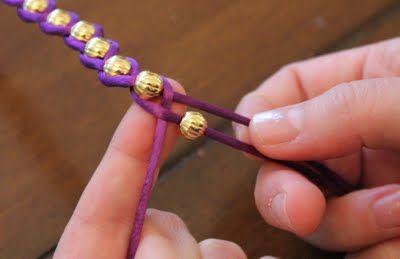 Braided Ribbon Beaded Bracelet