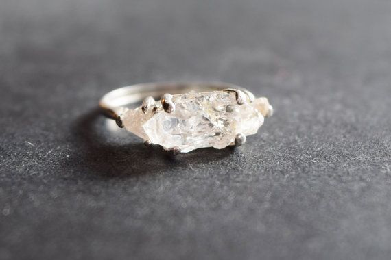 Unique Engagement Ring Raw 3 Stone Diamond Ring Rough by Avello