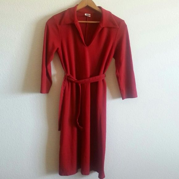 Old Navy maternity dress Knit shirt dress in rayon, poly and spandex for extra comfort. This is a heavy weight material, feels expensive. Color of red is most accurate in second picture.  BUNDLE FOR A GREAT DISCOUNT! Old Navy Dresses