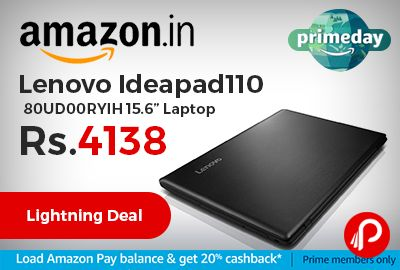 """Amazon #LightningDeal is offering 15% off on Lenovo Ideapad110 80UD00RYIH 15.6"""" Laptop Just at Rs.22990 Only. Intel i3-6006U 2.0GHz 6th Gen processor, 4GB DDR4 RAM, 1TB hard drive, 15.6-inch screen, Integrated Graphics, DOS operating system, 4 hours battery life, 2.2kg laptop.  http://www.paisebachaoindia.com/lenovo-ideapad110-80ud00ryih-15-6-laptop-just-at-rs-22990-only-amazon/"""
