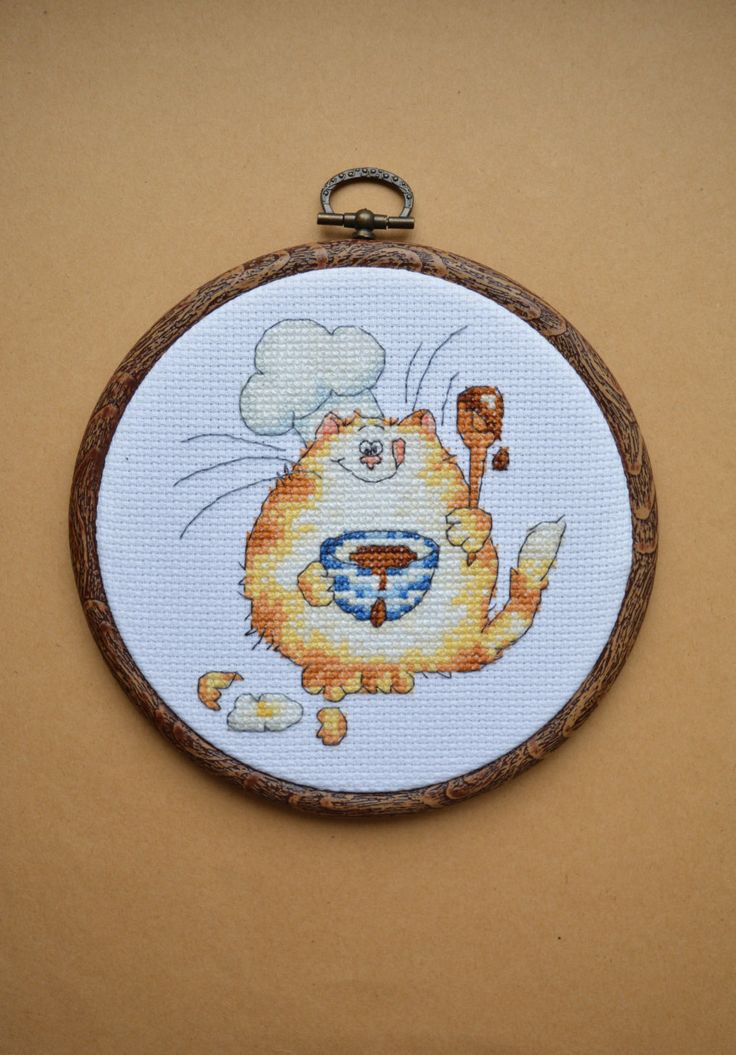 Margaret Sherry culinary cat - Kitchen Wall Decor, Completed Cross Stitch, Housewarming Gift, Wall Hanging, Embroidery, Hoop art - pinned by pin4etsy.com