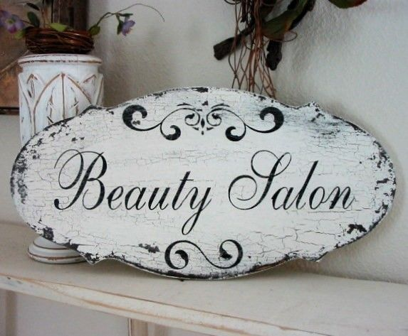 LAUNDRY / TEA Room / BEAUTY Salon Shabby Cottage Vintage Style Signs 14 x 7. $34.95, via Etsy.