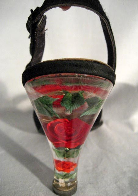 Gorgeous vintage Lucite rose sling-back heels. Utterly adore