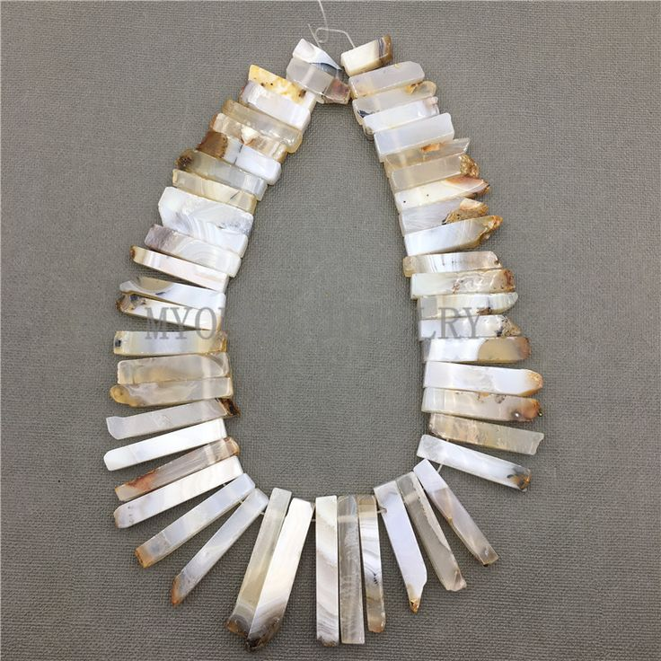 ==> [Free Shipping] Buy Best MY0588 Natural Agates Stick Slab BeadsMatte Spike Slice Point Drilled Necklace Making Beads Strand For Jewelry Online with LOWEST Price | 32810875536