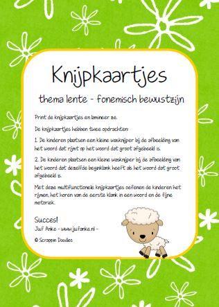 Knijpkaartjes thema lente, fonemisch bewustzijn: rijmen en eerste klank in het woord. jufanke.nl