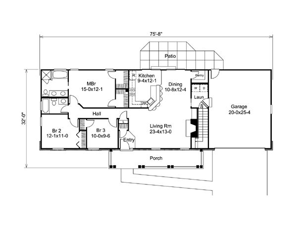 Cape Cod Country Ranch Traditional House Plan 95830 Level One