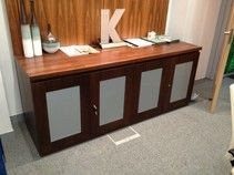4 Door Walnut Veneer Credenza In Very Good Condition Office Storageoffice