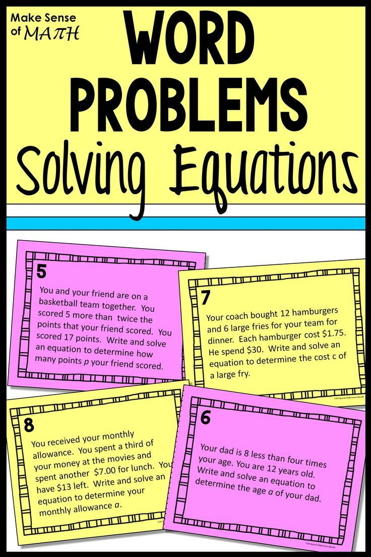 Check Out These Word Problems To Practice Solving Equations Your 7th Grade Math Students Will Love Activiti Word Problems Solving Equations Math Word Problems