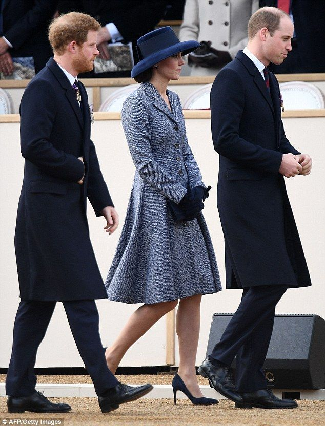 The royal was joined by her husband Prince William and brother-in-law Prince Harry as they...