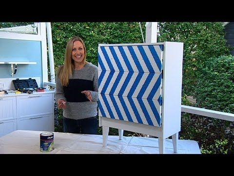 like the idea of adding legs to a cheap/basic drawers, to make it mid century modern, but the pattern is not what looking for. Decorating: jazz up your drawers - YouTube